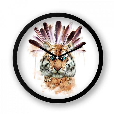 American Indian Tiger resimli siyah duvar saati. Presstish tasarım baskılı duvar saati. Sessiz akar duvar saati. En güzel saatler. Hediyelik şık dekoratif duvar saatleri.