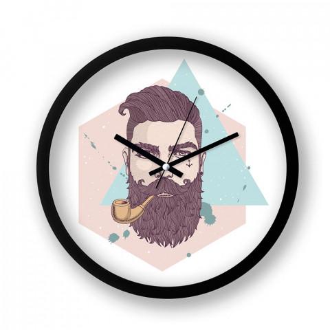 Bearded Hipster resimli siyah duvar saati. Presstish tasarım baskılı duvar saati. Sessiz akar duvar saati. En güzel duvar saatleri. Hediyelik dekoratif duvar saatleri.