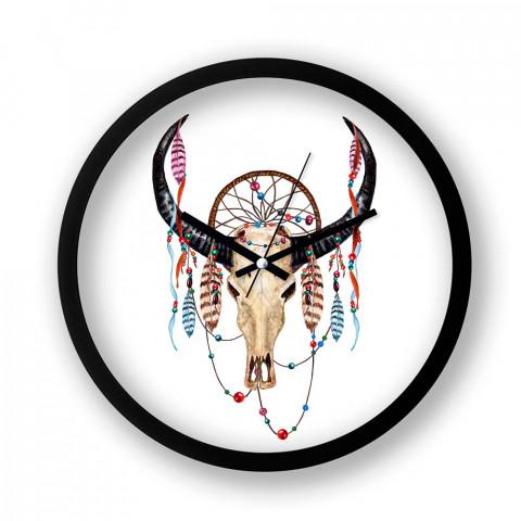 Boho Buffalo Skull resimli siyah duvar saati. Presstish tasarım baskılı duvar saati. Sessiz akar duvar saati. En güzel duvar saatleri. Hediyelik dekoratif duvar saatleri.
