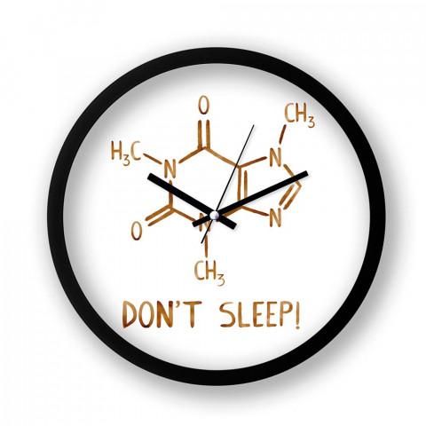 Caffeine Molecule resimli siyah duvar saati. Presstish tasarım baskılı duvar saati. Sessiz akar duvar saati. En güzel duvar saatleri. Hediyelik dekoratif duvar saatleri.