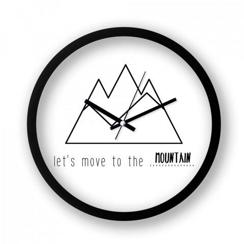 Let's Move To The Mountain resimli siyah duvar saati. Presstish tasarım baskılı duvar saati. En güzel sessiz akar duvar saatleri. Hediyelik şık dekoratif duvar saatleri.