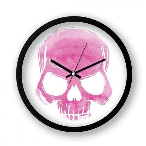 Skull Cloud (Pink) resimli duvar saati. Presstish tasarım baskılı duvar saati. Sessiz akar siyah duvar saati. En güzel duvar saatleri. Hediyelik dekoratif duvar saatleri.