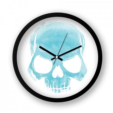 Skull Cloud (Turquoise) resimli duvar saati. Presstish tasarım baskılı duvar saati. Sessiz akar siyah duvar saati. En güzel duvar saatleri. Hediyelik şık duvar saatleri.
