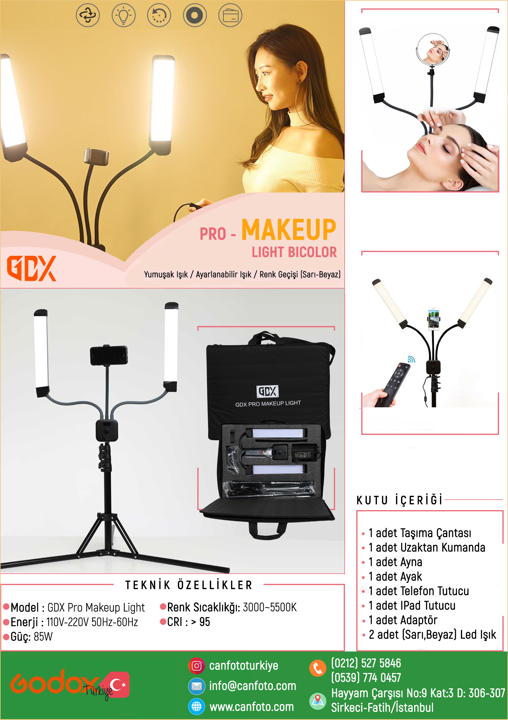 GDX PRO MAKEUP LIGHT, BICOLOR, DÖVME, MAKYAJ LED IŞIK