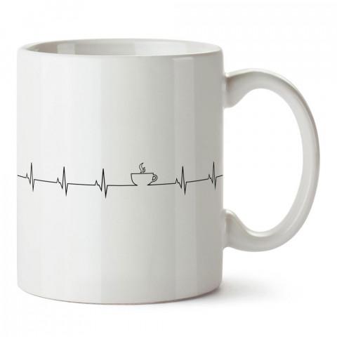 Kalp Atışı Kahve desenli kaliteli baskılı porselen kupa bardak modelleri (mug bardak). Kahve severler için en güzel hediye. Kahve kupası.