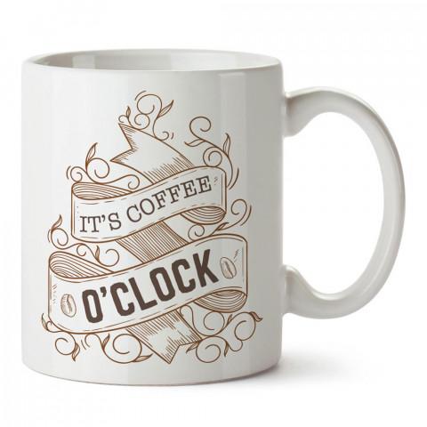 Kahve Saati yazılı kaliteli baskılı porselen kupa bardaklar modelleri (mug bardak). Kahve severler için en güzel hediye. Kahve kupası.