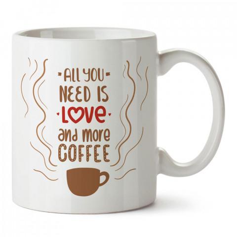 Tüm İhtiyacın Aşk ve Daha Fazla Kahve yazılı baskılı porselen kupa bardak modelleri (mug bardak). Kahve severler için en güzel hediye. Kahve kupası.