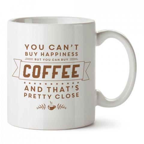 Kahve ve Mutluluk temalı tasarım porselen kupa bardak modelleri (mug bardak). Kahve severler için en güzel hediye. Kahve kupası.