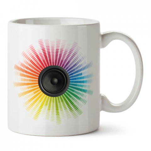 Ekolayzer hoparlör ve müzik tasarımlı kaliteli baskılı porselen kupa bardak modelleri (mug bardak). Müzik severler için en güzel hediye. Kahve kupası.