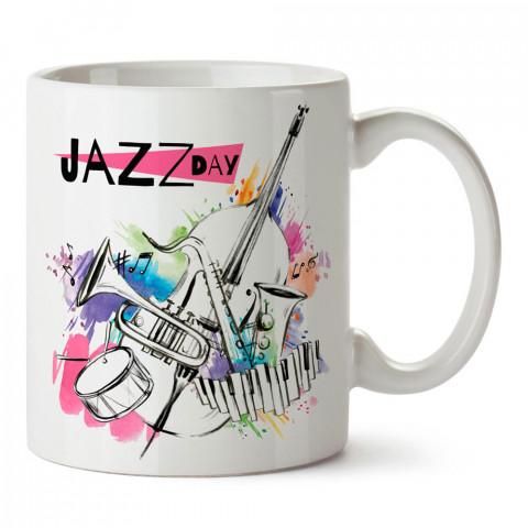 Jazz günü, caz (jazz) müzik, tasarımlı kaliteli baskılı porselen kupa bardak modelleri (mug). Jazz Müzik için en güzel hediye. Kahve kupası.