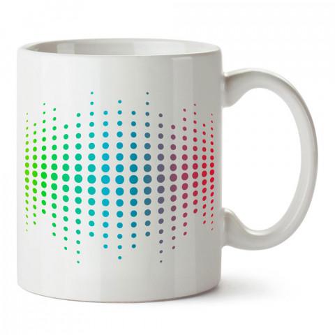Renkli Ekolayzer tasarım baskılı porselen kupa bardak modelleri (mug bardak). Müzik ve equalizer severlere en güzel hediye. Kahve kupası.