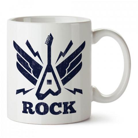 Rock Müzik ve Elektro Gitar tasarım baskılı porselen kupa bardak modelleri (mug bardak). Rock müzik severlere en güzel hediye. Kahve kupası.