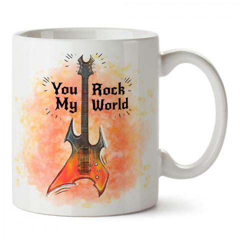You Rock My World tasarım baskılı porselen kupa bardak modelleri (mug bardak). Elektro Gitar ve Rock müzik severlere en güzel hediye. Kahve kupası.