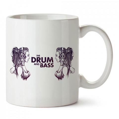 The Drum And Bass tasarım baskılı porselen kupa bardak modelleri (mug bardak). Müzik severlere en güzel hediye. Kahve kupası.