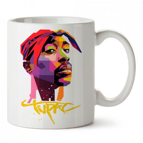 Tupac Resim ve Yazılı renkli tasarım baskılı porselen kupa bardak modelleri (mug bardak). Tupac hayranlarına en güzel hediye. Kahve kupası.
