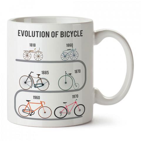 Bisikletin Evrimi tasarım baskılı porselen kupa bardak modelleri (mug bardak). Bisiklet severler için en güzel hediye. Kahve kupası.