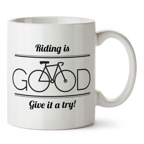 Bisiklete Binmek İyidir tasarım baskılı porselen kupa bardak modelleri (mug bardak). Kahve kupası.
