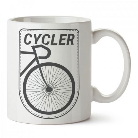 Cycler Bisiklet tasarım baskılı porselen kupa bardak modelleri (mug bardak). Kahve kupası.