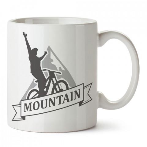 Mountain Dağ Bisikleti tasarım baskılı porselen kupa bardak modelleri (mug bardak). Kahve kupası.