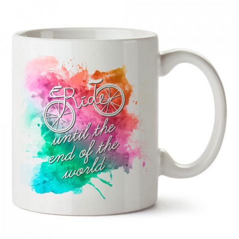 Dünyanın Sonuna Kadar Sür tasarım baskılı porselen kupa bardak modelleri (mug bardak). Kahve kupası.