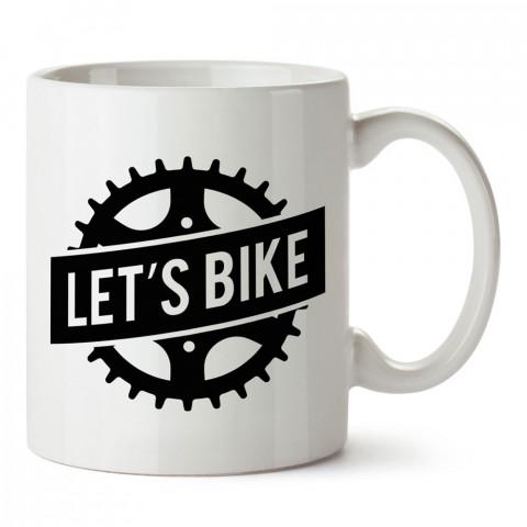 Let's Bike Dişli tasarım baskılı porselen kupa bardak modelleri (mug bardak). Kahve kupası.