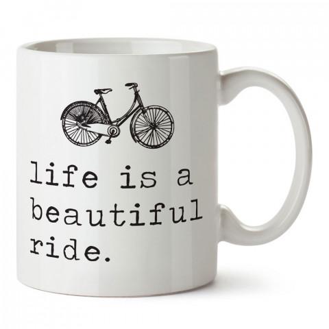 Hayat Güzel Bir Gezinti tasarım baskılı porselen kupa bardak modelleri (mug bardak). Kahve kupası.