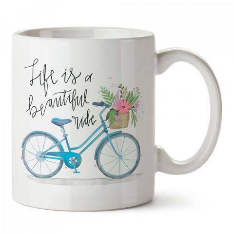 Çiçek Sepeti Bisiklet Gezintisi tasarım baskılı porselen kupa bardak modelleri (mug bardak). Kahve kupası.