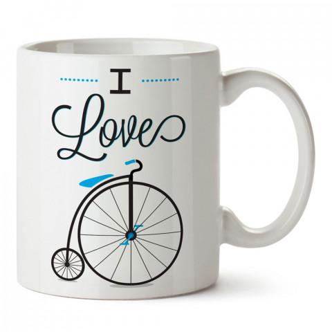 I Love Bicycle Bisiklet tasarım baskılı porselen kupa bardaklar (mug). Kahve kupası.