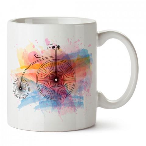 Suluboya Bisiklet ve Balon tasarım baskılı porselen kupa bardak modelleri (mug bardak). Kahve kupası.