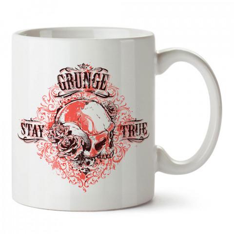 Grunge Sadık Kal Kuru Kafa tasarım baskılı porselen kupa bardak modelleri (mug bardak). Kahve kupası.