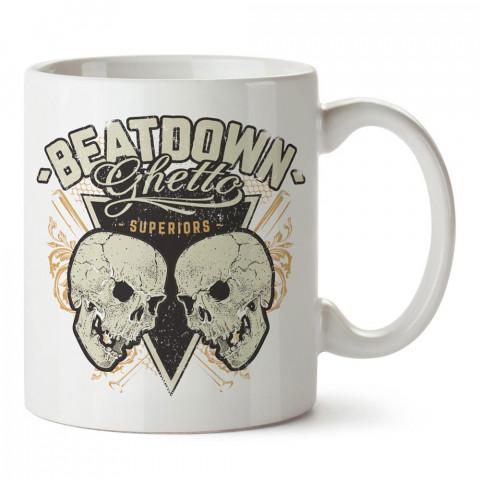Beatdown Ghetto Kuru Kafalar tasarım baskılı porselen kupa bardak modelleri (mug bardak). Kahve kupası.