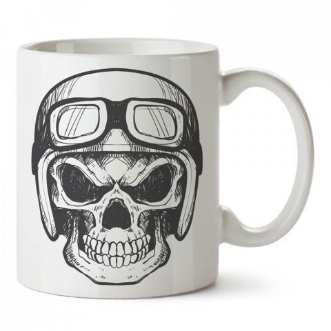 Kasklı Gözlüklü Kuru Kafa tasarım baskılı porselen kupa bardaklar (mug). Kahve kupası.