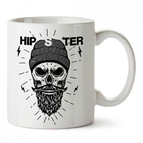 Sakallı Bıyıklı Hipster Kuru Kafa tasarım baskılı porselen kupa bardak modelleri (mug bardak). Kahve kupası.