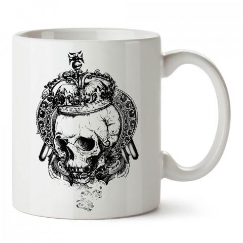Kral Tacı Kuru Kafa tasarım baskılı porselen kupa bardak modelleri (mug bardak). Kahve kupası.