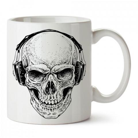 Kulaklıklı Kuru Kafa tasarım baskılı porselen kupa bardak modelleri (mug bardak). Kahve kupası.