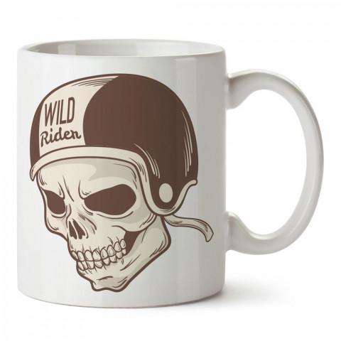 Vahşi Sürücü Kasklı Kuru Kafa tasarım baskılı porselen kupa bardak modelleri (mug bardak). Kahve kupası.