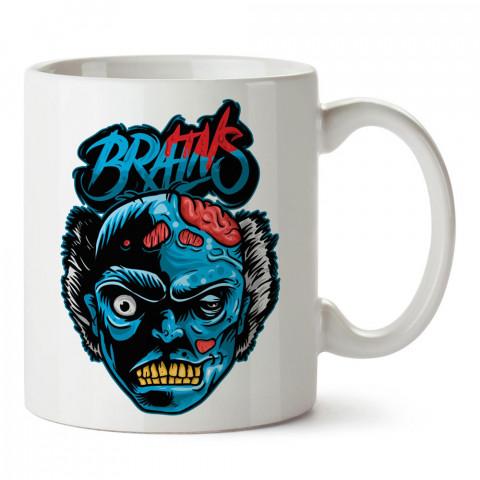 Mavi Brains Zombi tasarım baskılı porselen kupa bardak modelleri (mug bardak). Kahve kupası.
