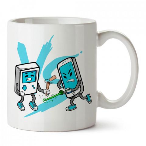 Gameboy ve Telefonların Savaşı tasarım baskılı porselen kupa bardak modelleri (mug bardak).  Kahve kupası.