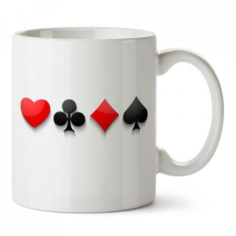 Oyun Kartı Sembolleri tasarım baskılı porselen kupa bardak modelleri (mug bardak). Kahve kupası. Kupa maça karo sinek.