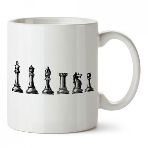 Satranç Taşları tasarım baskılı porselen kupa bardak modelleri (mug bardak). Kahve kupası.