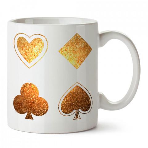 Yaldızlı Kupa Karo Maça Sinek Sembolleri tasarım baskılı porselen kupa bardak modelleri (mug bardak). Kahve kupası.