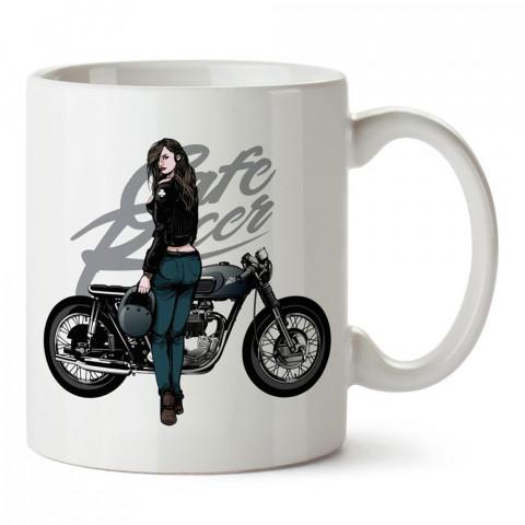 Cafe Racer Motosiklet Kadın Sürücü tasarım baskılı porselen kupa bardak modelleri (mug bardak). Kahve kupası.
