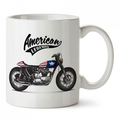 Çıplak Motosiklet American Legends tasarım baskılı porselen kupa bardak modelleri (mug bardak). Kahve kupası.