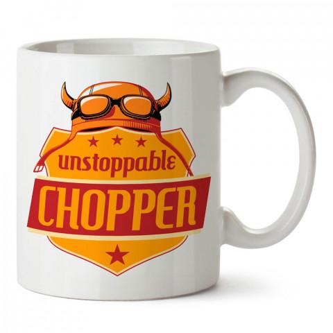 Durdurulamaz Chopper Motosiklet tasarım baskılı porselen kupa bardak modelleri (mug bardak). Kahve kupası.