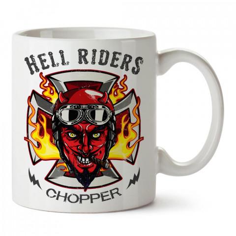 Hell Riders Chopper Motosiklet tasarım baskılı porselen kupa bardak modelleri (mug bardak). Kahve kupası.