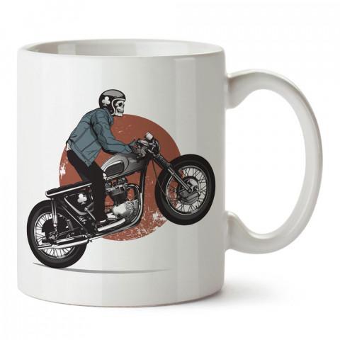 İskelet Motosiklet Sürücüsü tasarım baskılı porselen kupa bardak modelleri (mug bardak). Kahve kupası.