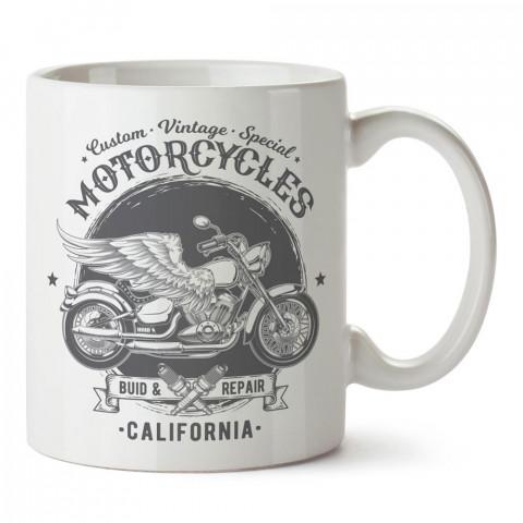 Kaliforniya Kanatlı Motosiklet tasarım baskılı porselen kupa bardak modelleri (mug bardak). Kahve kupası.