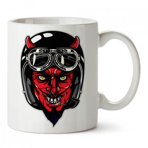 Kasklı Kırmızı Şeytan Motosiklet tasarım baskılı porselen kupa bardak modelleri (mug bardak). Kahve kupası.