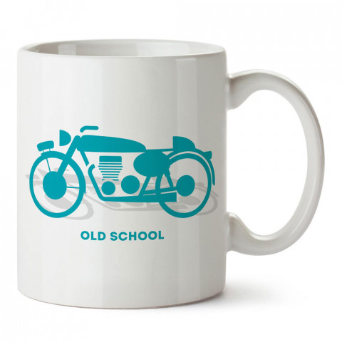 Old School Motosiklet tasarım baskılı porselen kupa bardak modelleri (mug bardak). Kahve kupası.