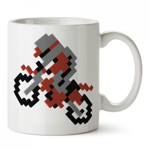 Piksel Motosiklet tasarım baskılı porselen kupa bardak modelleri (mug bardak). Kahve kupası.